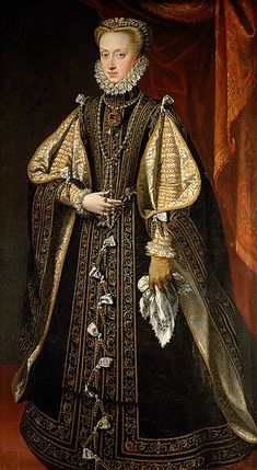 Alonso Sánchez Coello — Portrait of Anna of Austria, Queen of Spain, 1571 : The Kunsthistorisches Museum, Vienna. Elizabethan Costume, Elizabethan Fashion, Elizabethan Era, Renaissance Mode, Renaissance Clothing, Renaissance Fashion, Historical Costume, Historical Clothing, Mode Rococo