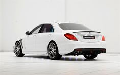 Download wallpapers Brabus Rocket 900, Mercedes-Benz S65 AMG, 2017, 4k, luxury white sedan, tuning white S-class, Mercedes