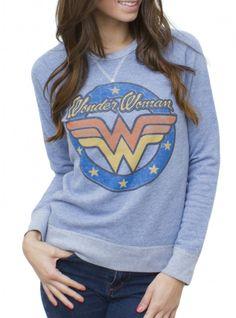 Wonder Woman Light Blue Pullover Fleece www.junkfoodclothing.com #junkfoodtees