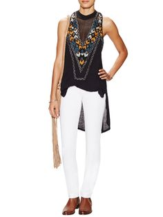 New World Jersey Adella Mesh Trim Top from Free People on Gilt