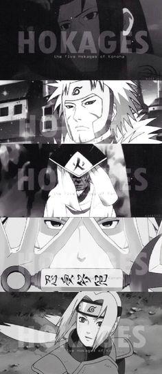 The Hokage, Senju Hashirama. The Senju Tobirama. The Sarutobi Hiruzen. The Namikaze Minato. The Senju Tsunade. I love Minato! Itachi, Kakashi Sensei, Gaara, Naruto Art, Anime Naruto, Naruto Shippuden, Naruto Images, Naruto Pictures, Ninja