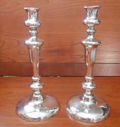 Old Sheffield Pair Candlesticks Antique to Vintage Silver On Copper