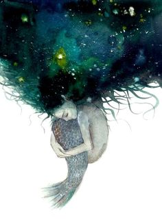 """""""Little Mermaiden"""" Mermaid in sadness with blue watercolor. Shared in a Slavic artist forum on Facebook, but artist unknown. https://www.facebook.com/photo.php?fbid=565118566896000set=pb.303031413104718.-2207520000.1388163836.type=3theater"""