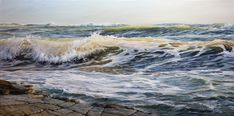 oil on canvas, 100 x 50cm. Jan 2021 Landscape Art, Landscape Paintings, Ocean Waves, Ocean Beach, Oil On Canvas, Canvas Art, Original Paintings, Original Art, Painter Artist