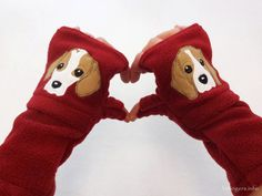 #Personalized #Beagle Gift. Fingerless Gloves with Pockets for #DogLovers Customized