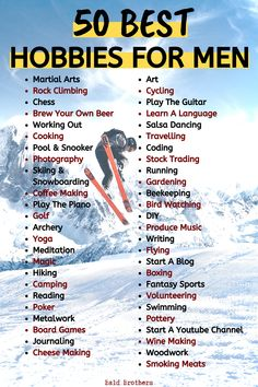 Here are 50 hobbies for men that can improve your life! This list of hobbies for men is perfect for every single adult man! Best Hobbies For Men, Hobbies That Make Money, Hobbies And Interests, Fun Hobbies, Skills To Learn, Life Skills, Life Lessons, Self Development, Personal Development
