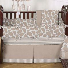 neutral giraffe nursery bedding
