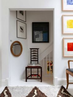 The studied calm of Kettle's Yard has a rarefied charm - but it's not impossible to recreate in your own home. The founders of new west London gallery 8 Holland Street, Tobias Vernon and Rowena Morgan-Cox, share their interiors tips. Blue Walls, White Walls, Brancusi Sculpture, Round Mirror With Rope, Rope Mirror, Eclectic Design, Interior Design, Ladder Back Chairs, Living Room Inspiration