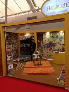Our stand at one of our exhibitions for Handmade world, we are showcasing our beautiful collection of handmade rugs!
