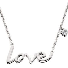 "Sterling silver 'Love' necklace BY Aspire 925 with .02tw diamond heart charm. Necklace is 18""."