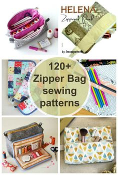 Zipper bags to sew. More than 120 sewing patterns for zipper bags and pouches, including many free , Diy Sewing Projects, Sewing Projects For Beginners, Sewing Hacks, Sewing Tutorials, Bag Tutorials, Sewing Tips, Sewing Crafts, Easy Sewing Patterns, Bag Patterns To Sew