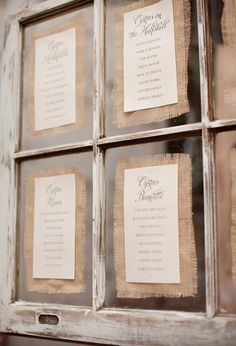 old windows ~ wedding seating chart printed on paper with burlap as a border ~ this could be used for any event that uses a seating chart