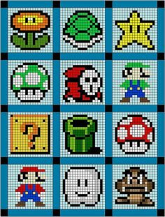 Super Mario quilt or cross stitch patterns! Hama Beads Design, Hama Beads Patterns, Beading Patterns, Knitting Patterns, Knitting Charts, Loom Patterns, Cross Stitching, Cross Stitch Embroidery, Cross Stitch Patterns