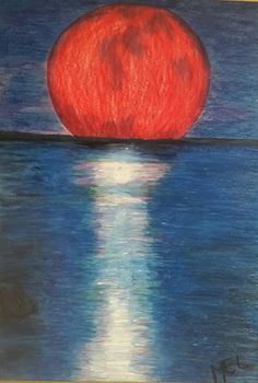 About Artwork: Red Moon Rising - Original Melisse Edwards Oil Pastel on 160gsm board Signed by artist The artwork is  supplied unframed  Dimensions: 50cm(w) x 70cm(h)  About Artist: Original artwork by South African born artist Melisse Edwards.  Thank you for showing interest in my artwork!  #oilpastel #practisingtheart #beautifulthings #lovingthis #newpassion #art  #paintingthethingsilove #myart #redmoon #moonrising #reflectionsoverwater #artforsale #humbledbythisgift