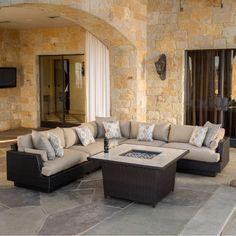 Portofino Comfort 6-piece Modular Outdoor Furniture Set with Firepit in Espresso @ Costco.com