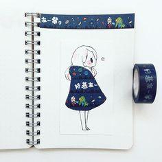 Great idea for washi tape! Illustration Sketches, Art Sketches, Washi Tape, Chibi Kawaii, Drawn Art, Tape Art, Dibujos Cute, Face Sketch, Roald Dahl