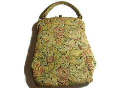 "Vintage Tapestry Handbag Signed "" Pretty Hand Bag NY "" Purse"