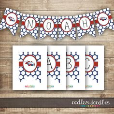 Airplane Bunting / Airplane Banner / Personalized A- Z  / Boy's Birthday / Baby Shower Banner / Red and Blue - INSTANT DOWNLOAD  - Printable