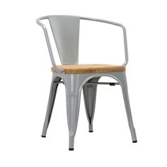 Bistro Arm Chair in Wood & Steel - Set of 2
