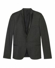 Veste costume noir col cuir