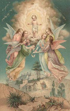 Divided Back Postcard Baby Jesus & Angels Religious Religious Pictures, Jesus Pictures, Religious Icons, Religious Art, Christmas Angels, Christmas Cards, Christmas Post, Image Jesus, Vintage Holy Cards