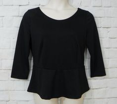Womens THE LIMITED Black Knit Scoop Neck V Back ¾ Sleeve Peplum Top Size XL #TheLimited #Peplum #CareerCasual