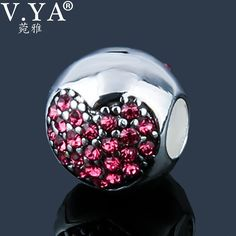 Romantic Beads for Women Luxury Zircon Jewelry Charms Beads fit Pandora Necklace Bracelet DIY Beads Z037-3