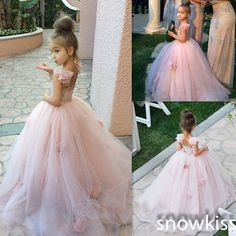 2016 Pink Lovely Flower Girl Dresses Prom Party Girl's Formal Occasion Ball Gown