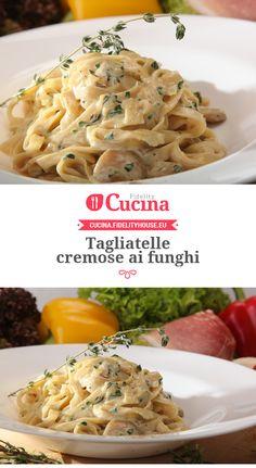 Fusilli con funghi, speck e salsa al brie Raw Food Recipes, Pasta Recipes, Italian Recipes, Cooking Recipes, Healthy Recipes, Rigatoni, Weird Food, Pasta Dishes, My Favorite Food