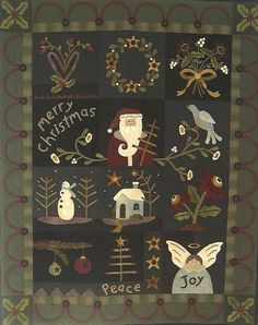 Primitive Folk Art Wool Applique Quilt Pattern by PrimFolkArtShop, $33.00