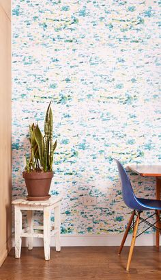 """Watercolor"" -- Removable Wallpaper from ""Chasing Paper"" -- Love the concept; love this particular print as something that would be pretty with peacock..."