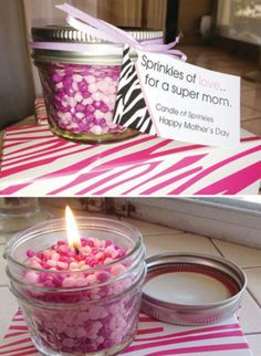 Candle made from sprinkles. Make your own candle. Make great gifts!