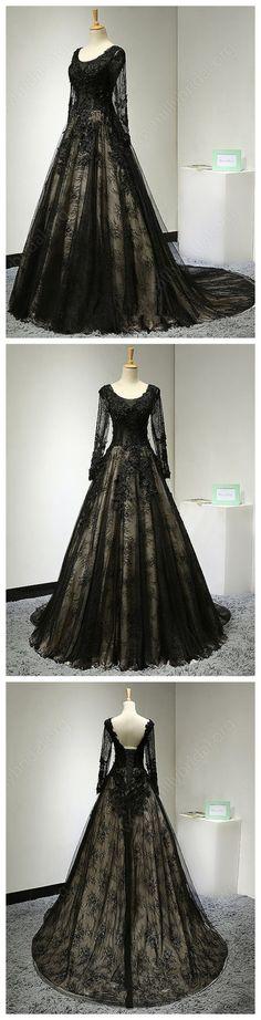 New A-line Scoop Neck Lace Court Train Appliques Lace Black Long Sleeve Prom Dress