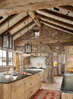 Linda forma de integrar piedra y madera.