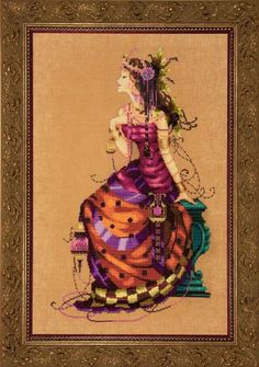 This Gypsy Queen looks ever so fancy with her long draping dress and her beautiful jewellery. What a life to lead, it would be a lot of fun to stitch her.