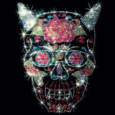 10x13 - ŞEYTAN KORNALAR ŞEKER KAFATASI (STUD) - rose şeytan, boynuzları, kafatası, Çıtçıt, şeker kafatası, Materyal Transfer, Kafatasları