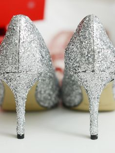 DIY SPARKLE PUMPS by @merricksart   Silver Glitter Heels   DIY Glitter Shoes