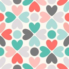 Floral seamless pattern. Red, green, black and white illustration