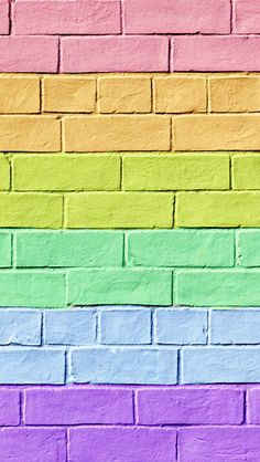 Cut colorful brick wallpaper.