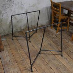 【鉄脚】アイアンテーブル脚三脚ソーホース/2個セット(黒皮鉄オイル仕上げ)