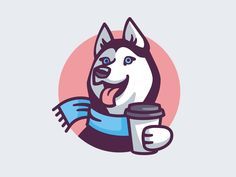 Husky Coffee by MissMarpl on Dribbble Pug, Dog Logo Design, Dog Line, Coffee Design, Animal Logo, Logo Images, Dog Art, Scooby Doo, Illustration