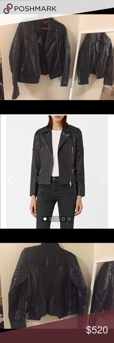 All saints leather jacket A slim fitting leather biker jacket, crafted in soft lambs kin with double buckle detailing. Us6 true to size in excellent condition and never worn. Quilted shoulders and part sleeves. All Saints Jackets & Coats