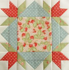"""Fat Quarter Shop's Designer Mystery Block of the Month (BOM) - block #4 - in """"strawberry Fields"""" *sigh*"""