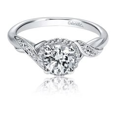 Gabriel & Co. Contemporary Twist Halo 14k White Gold Engagement Ring Setting