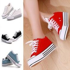 d2fd20e5b5 Fashion Womens Canvas Shoes Platform Hidden Heel Lace Up Low Top Sneakers  Girls Sneakers