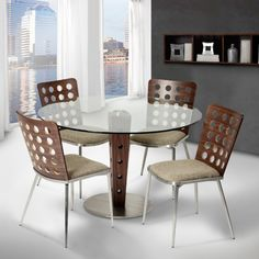 Armen Living Elton Modern Dining Table In Stainless Steel And Glass Top
