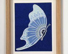Spectacular  hnliche Artikel wie Blau Ombre Schmetterling Herz Papierkunst Leinwand Wand h ngenden Kinderzimmer Kunst gift auf Etsy