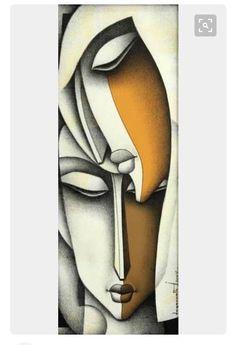 African Art Paintings, Modern Art Paintings, Cubist Paintings, Cubist Art, Abstract Face Art, Acrylic Art, Sculpture Art, Watercolor Art, Art Drawings