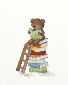 Cute Brown Teddy Bear Print Nursery Room Art by NaturesHeavenlyArt