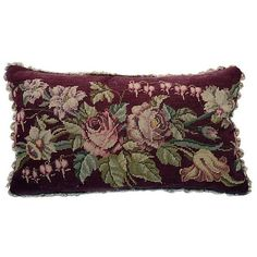 Pillow w/ Victorian Needlepoint Pillow ($325) ❤ liked on Polyvore featuring home, home decor, throw pillows, pillows and furniture